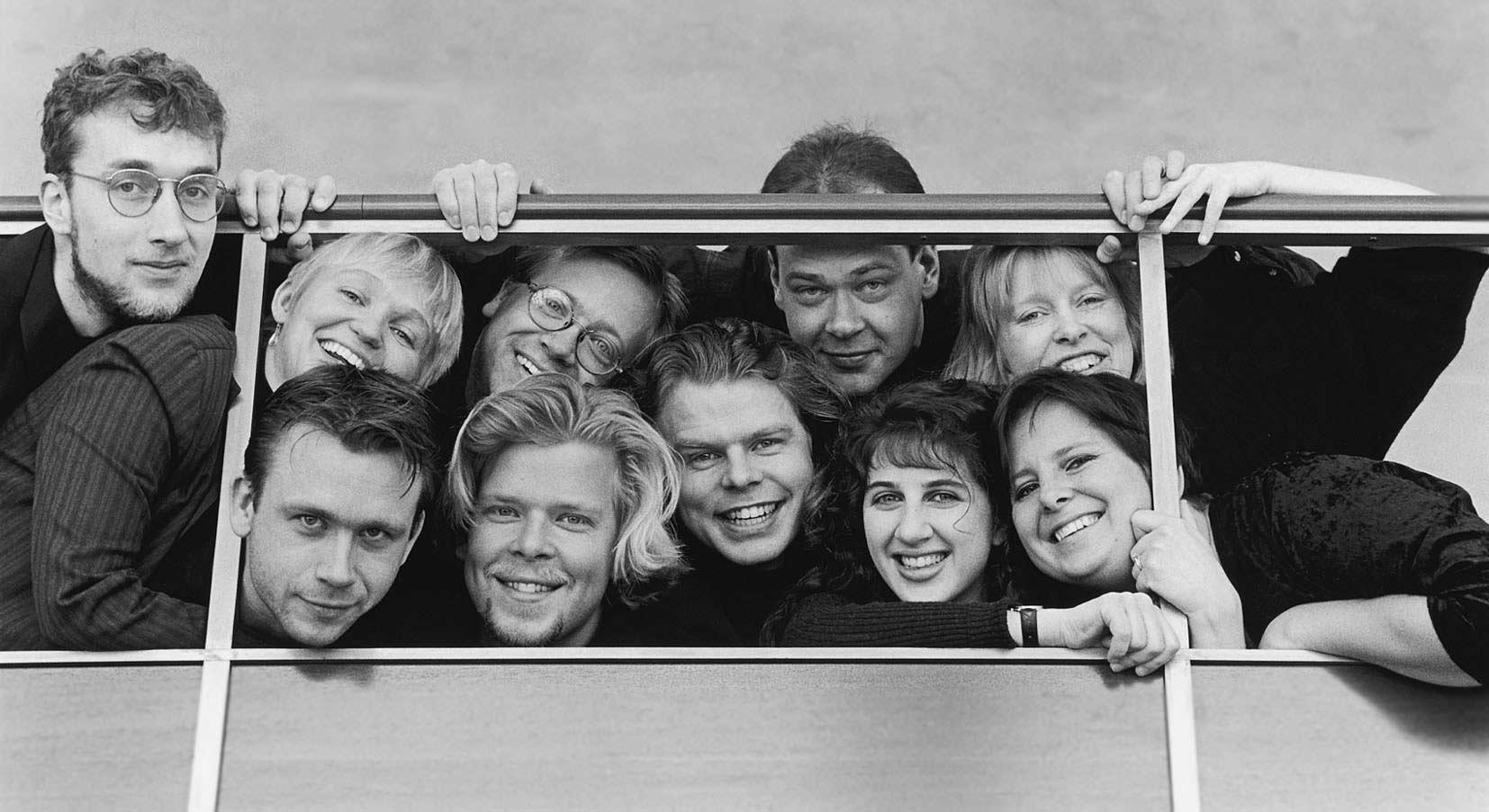 Pressfoto inför turné för Musik i Väst 2000.