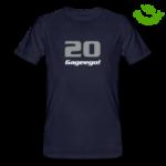 Bild på mörk ekologisk herr-t-tröja med texten 20 Gageego!